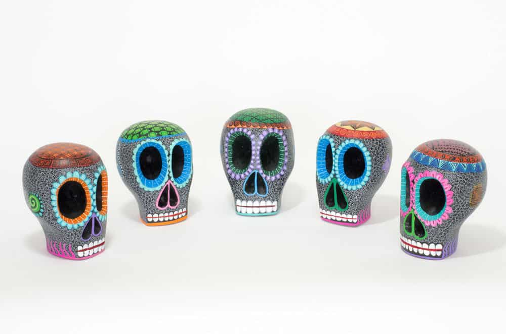 hand carved, hand painted black mexican skull