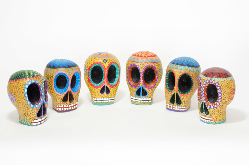 beautiful hand-carved, hand painted colourful Mexican skulls, known as Calaveras. Extraordinary Mexican art from MexArt in London, UK