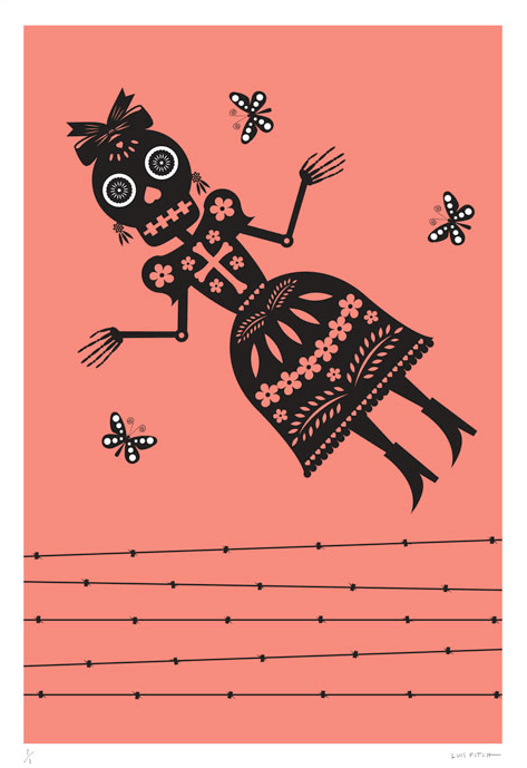 A striking jumbo-sized peach colour screen print by Mexican artist Luis Fitch, featuring Day of the Dead style skulls. Inspired by the 'papel picado' (perforated paper) technique. Extraordinary Mexican art from MexArt in London, UK