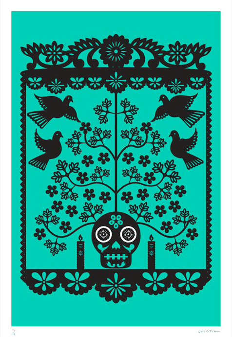 A striking jumbo-sized green screen print by Mexican artist Luis Fitch, featuring Day of the Dead style skulls. Inspired by the 'papel picado' (perforated paper) technique. Extraordinary Mexican art from MexArt in London, UK
