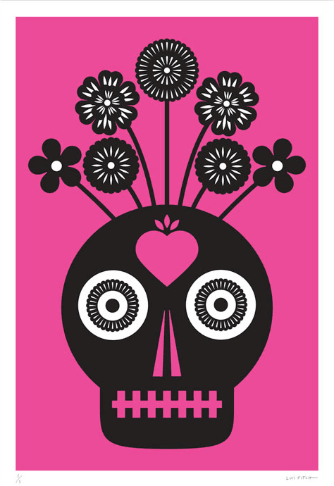 A striking jumbo-sized magenta screen print by Mexican artist Luis Fitch, featuring Day of the Dead style skulls. Inspired by the 'papel picado' (perforated paper) technique. Extraordinary Mexican art from MexArt in London, UK