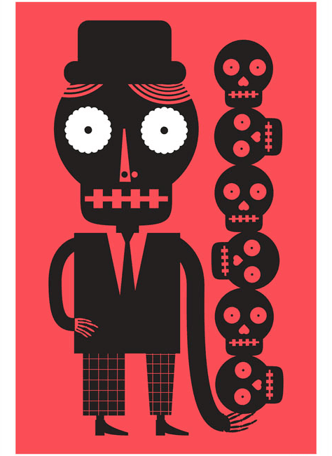 A striking jumbo-sized red screen print by Mexican artist Luis Fitch, featuring Day of the Dead style skulls. Inspired by the 'papel picado' (perforated paper) technique. Extraordinary Mexican art from MexArt in London, UK