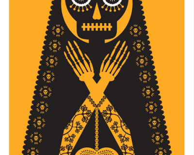 A striking jumbo-sized yellow screen print by Mexican artist Luis Fitch, featuring Day of the Dead style skulls. Inspired by the 'papel picado' (perforated paper) technique. Extraordinary Mexican art from MexArt in London, UK