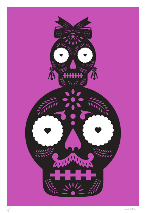 A striking jumbo-sized purple screen print by Mexican artist Luis Fitch, featuring Day of the Dead style skulls. Inspired by the 'papel picado' (perforated paper) technique. Extraordinary Mexican art from MexArt in London, UK