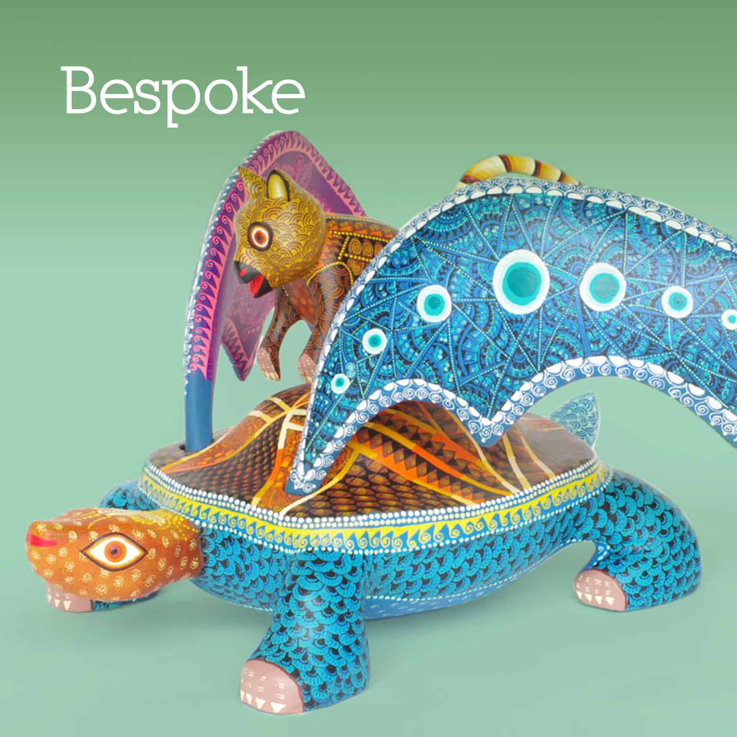 Hand made bespoke alebrije of a turtle with wings and a quokka riding on it's back